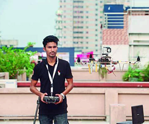 Hasib Mahmud flying his tricopter
